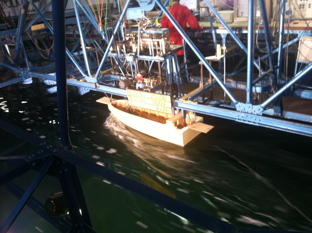 Hull optimization using scale towing tank testing and CFD with the help of out partners